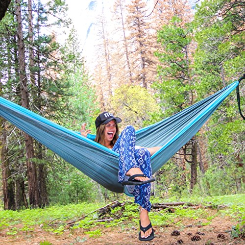 Insane Deal! Ends Today! Double Camping Hammock 2 Free Bonus Hanging Tree Straps and Carabiners – Ultralight Portable Compact Parachute Nylon Perfect for Outdoor Backpacking, Beach, Backyard, Camping.
