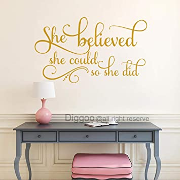 She Believed She Could So She Did Wall Decal Inspirational Quotes Nursery  Wall Decals Girls Bedroom Decor (Gold,13\