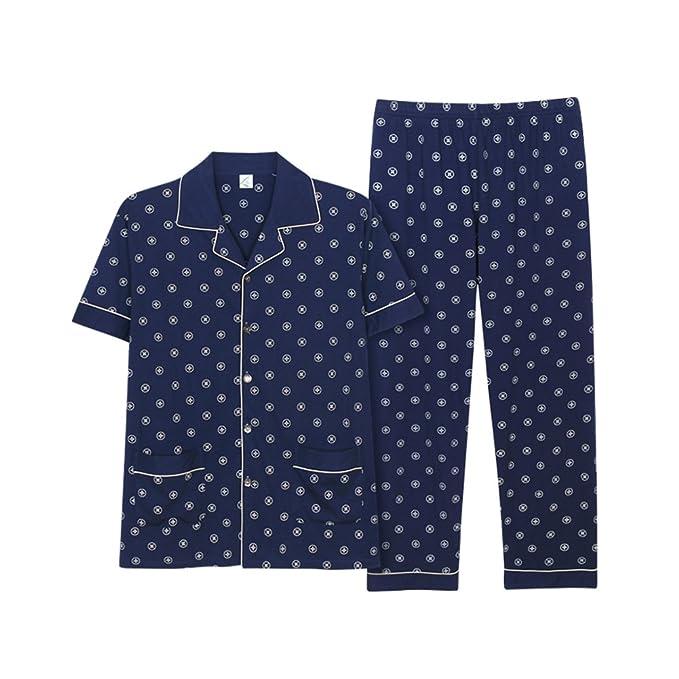SQINAA Conjunto de pijama de algodón de los hombres,Pijama de dormir manga larga botón