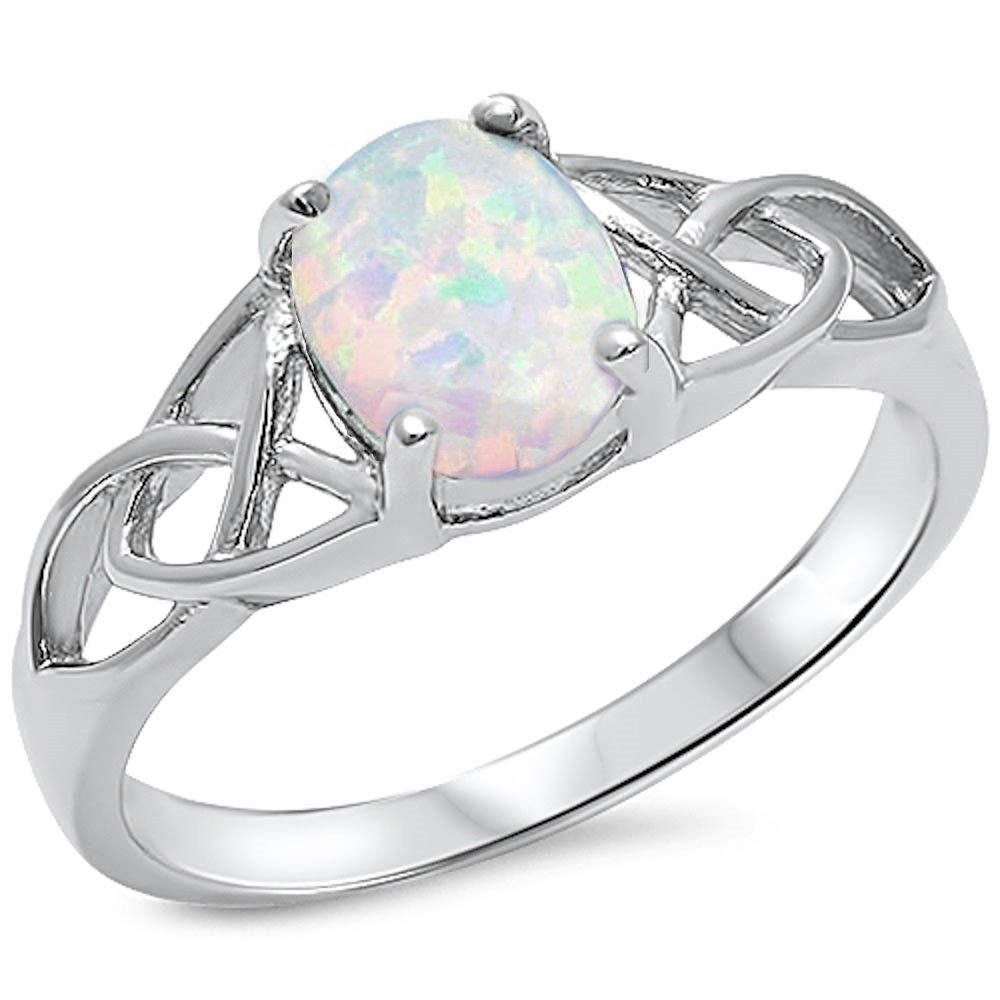 Oxford Diamond Co Oval Lab Created White Opal Celtic Design Band .925 Sterling Silver Ring Sizes 7 by Oxford Diamond Co (Image #1)