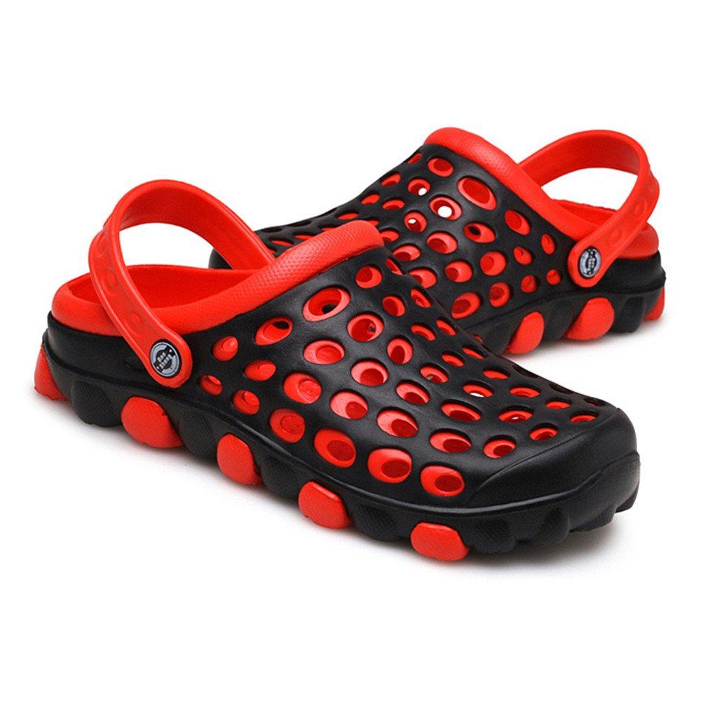 Cyiecw Unisex Breathable Garden Clogs Outdoor Walking Slippers Anti-Slip Beach Shower Sandals (9 US Women/7 US Men, red)