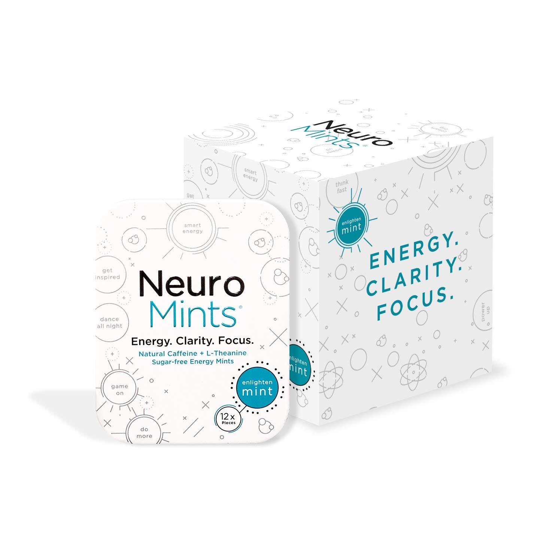Neuro Mints Nootropic Energy Mints | Caffeine + L-theanine + B Vitamins | Sugar Free + Gluten Free + Vegan (6 Pack (72 Pieces), Mint) by NeuroGum
