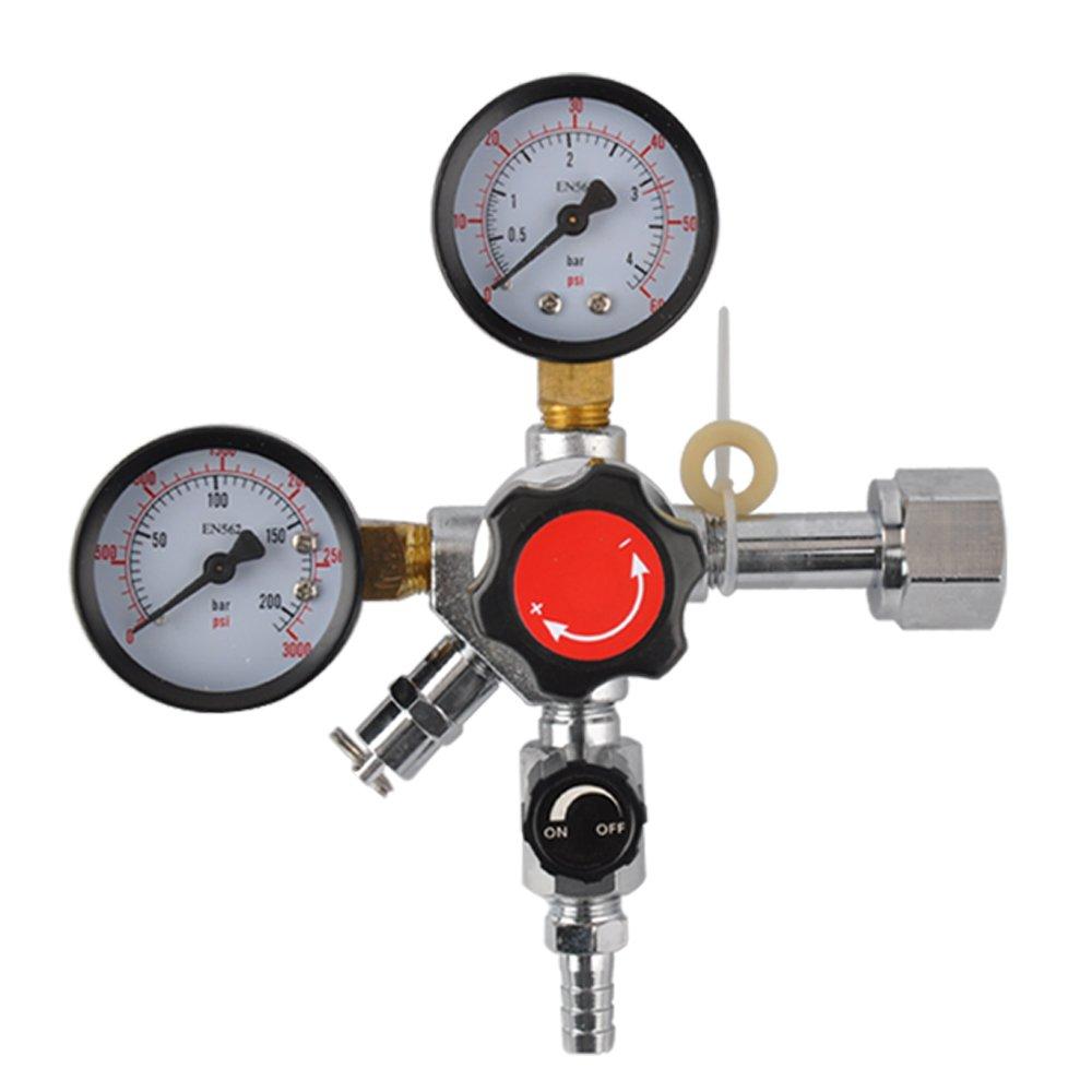 Dual Gauge CO2 Beer Regulator-Homebrew Kegerator Draft Beer Dispensing CO2 Regulator-Unit with CGA-320 inlet, 0-60 PSI Working Pressure, 0-3000 PSI Tank Pressure with Safety Pressure Relief Valve