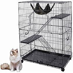 """YesHom 51""""x36""""x22"""" Large Cat Pets Wire Cage 2 Door Playpen w/Hammock 2 Ramp Ladders (Black Vein)"""