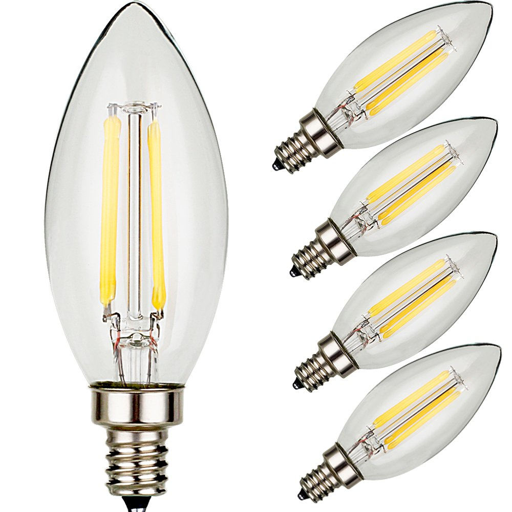 U ne led filament bulb candle lights 4 pack 120v 4w e12 40w u ne led filament bulb candle lights 4 pack 120v 4w e12 40w equivalent warm white amazon arubaitofo Gallery