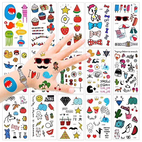 Temporary Tattoos for Kids(15sheets),Konsait 250Assorted Temporary Tattoos Little Monster Elephant Diamond Strawberry Watch fake Body Sticker for Girls Boys Children for Birthday Party Favors Supplies
