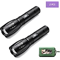 AUSELECT Ultra-Bright Flashlights, High Lumens Cree LED Tactical Flashlight, Zoomable Adjustable Focus, IP65 Water-Resistant, Portable, 5 Light Modes for Indoor and Outdoor,Camping,Emergency,Hiking (2 Pack)