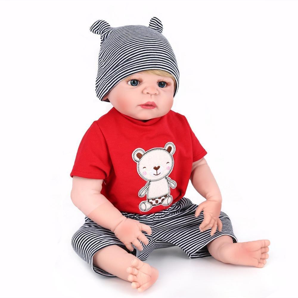 ganancia cero Haixin Haixin Haixin Bebé muñeca simulación silicona vinilo 22 pulgadas 55 cm realista hermoso lindo niño niña juguete del bebé  hermoso