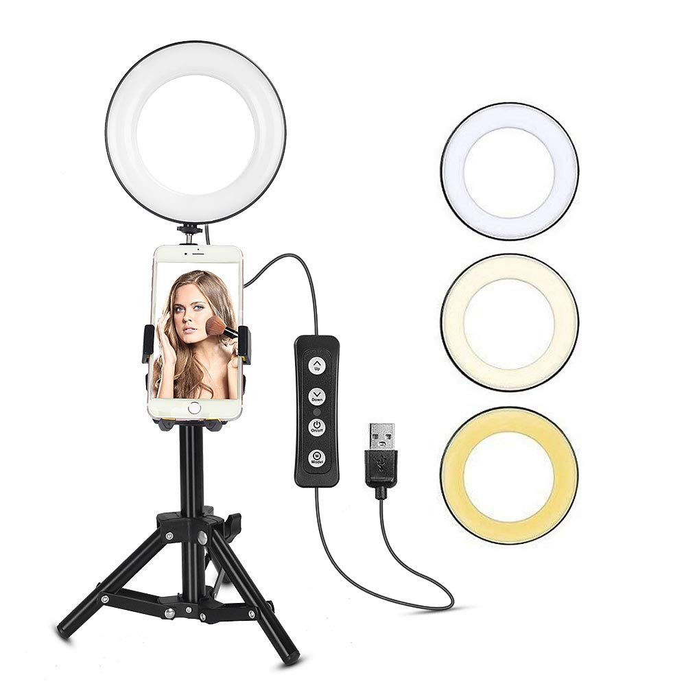 ZoMei 6'' Ring Light with Phone Holder for YouTube Video and Makeup, Mini LED Camera Light with Cell Phone Holder Desktop LED Lamp with 3 Light Modes and 11 Brightness Level