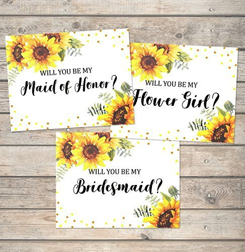 (Sunflowers Will You Be My Bridesmaid Cards, Flower Girl, Maid of Honor, Etc, Any Title Combination, Sunflowers And Dots Bridal Party Proposal Note Cards Wedding Party Card Set)