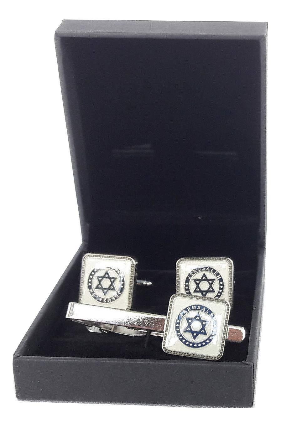 Tie Clip and Cufflinks Set Star of David Jerusalem Pattern Cufflinks for Men+Box