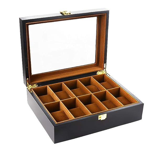 Bearhouse Caja para Relojes Madera Estuches Relojes con 10 Compartimentos Hombre Negro: Amazon.es: Relojes