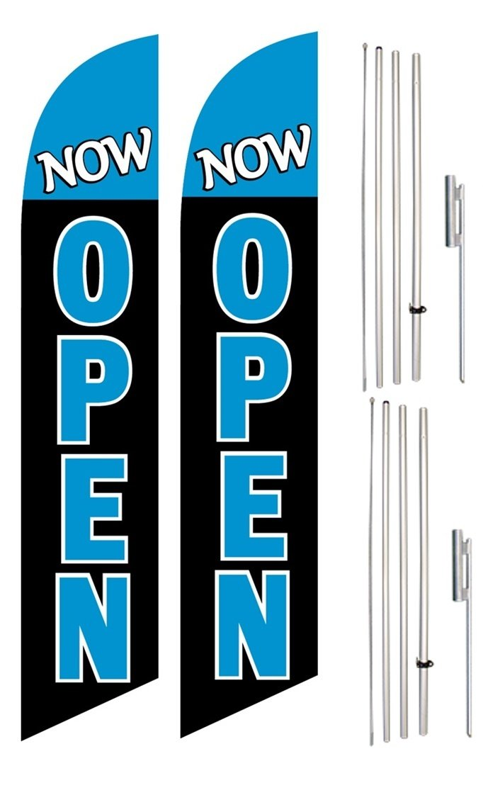 Windless Swooper Flag & Pole Kit Twin Pack NOW OPEN Light Blue Black White by BetterBanner