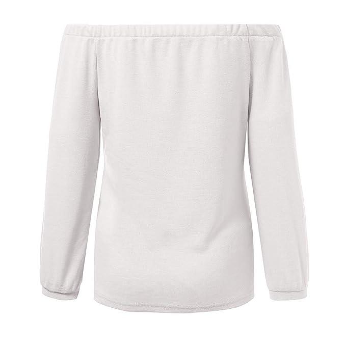 Luckycat Mujer Camiseta Manga Larga Sexy Hombros Descubiertos Otoño Blusa Elegante Casual Top Shirt: Amazon.es: Ropa y accesorios