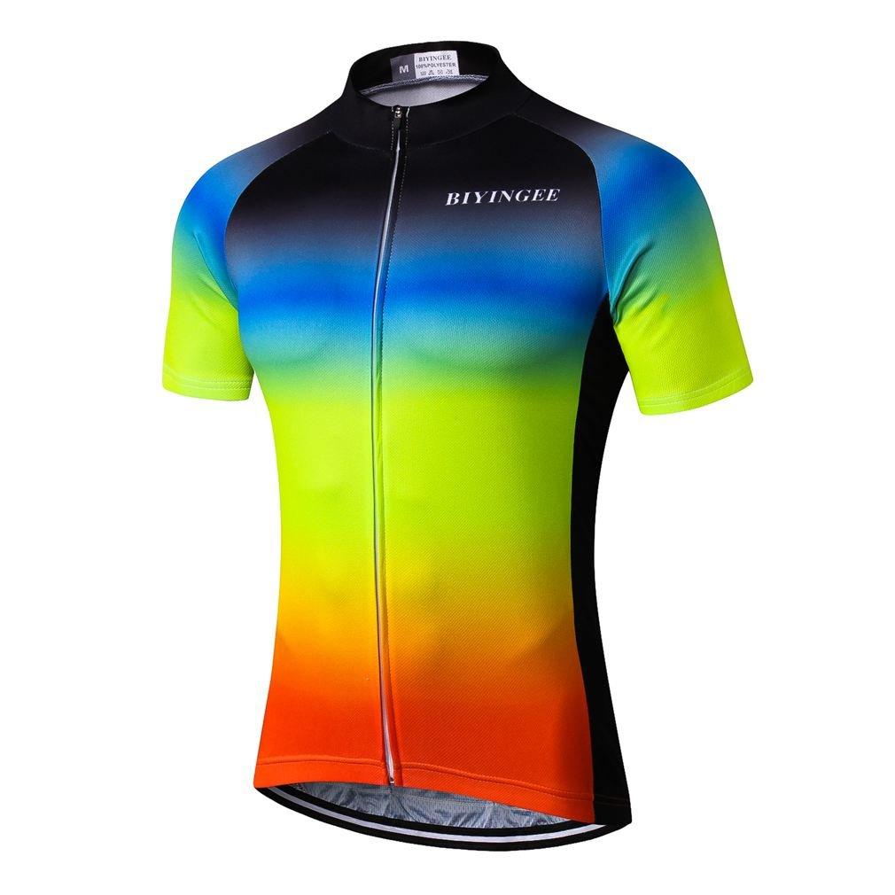 BIYINGEE Men's Cycling Jersey Short Sleeve with Big Reflective Tape Blue Yellow Size XXXL