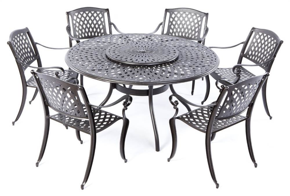 Amazon.com : Alfresco Home 56 1302 Westbury Cast Aluminum 6 Seats Dining  Set With Lazy Susan : Garden U0026 Outdoor