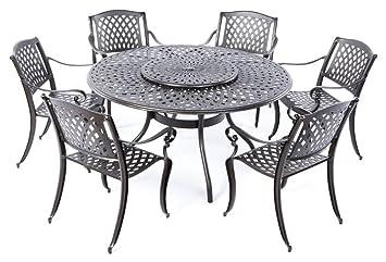 Attractive Alfresco Home 56 1302 Westbury Cast Aluminum 6 Seats Dining Set With Lazy  Susan