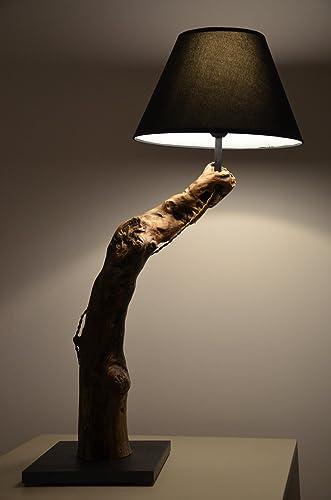 Bajour moderna lámpara de mesa de madera natural lámpara de ...