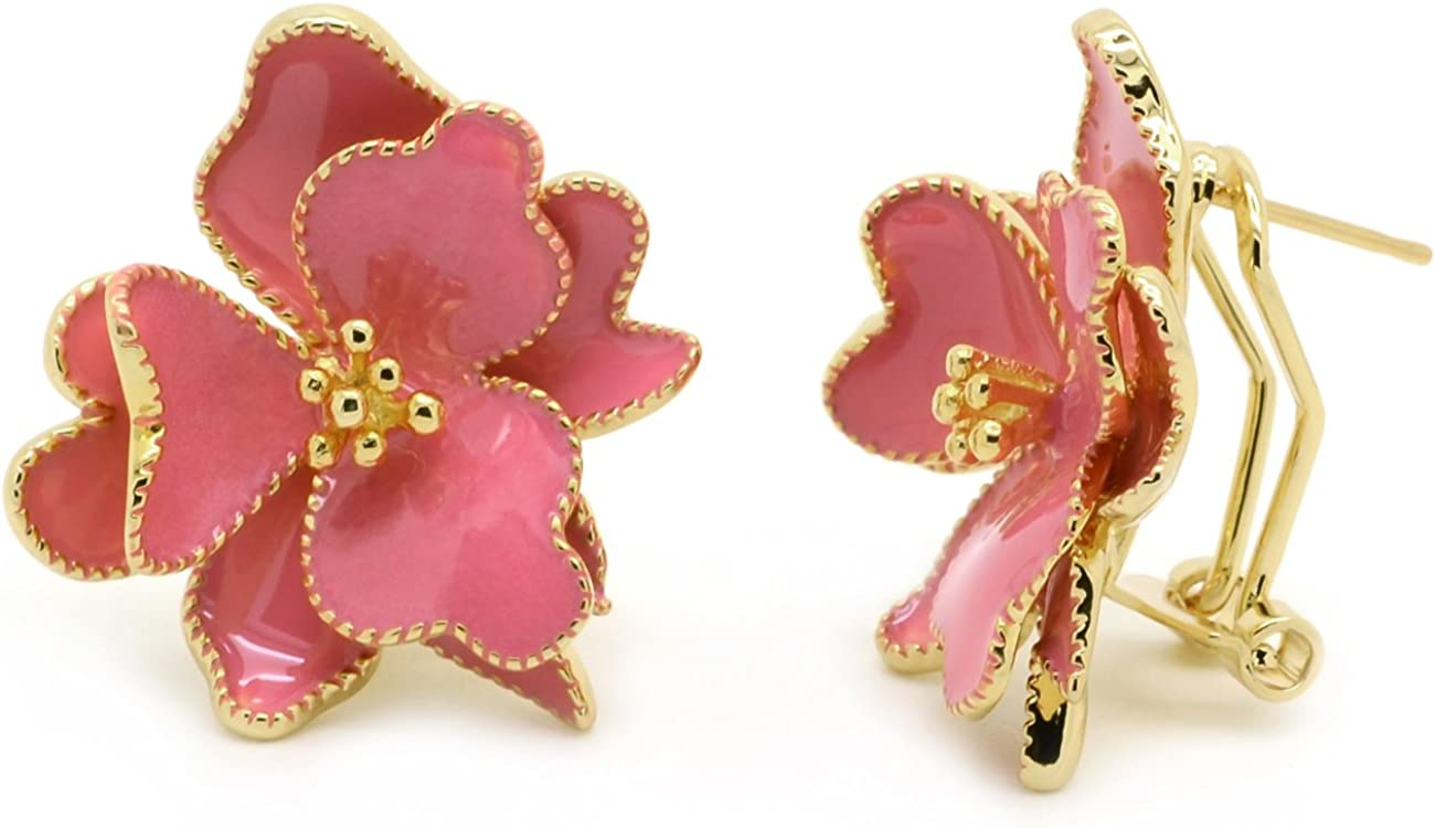14K Rose Gold Plated Large Red Flower Petal Piece Drop Earrings