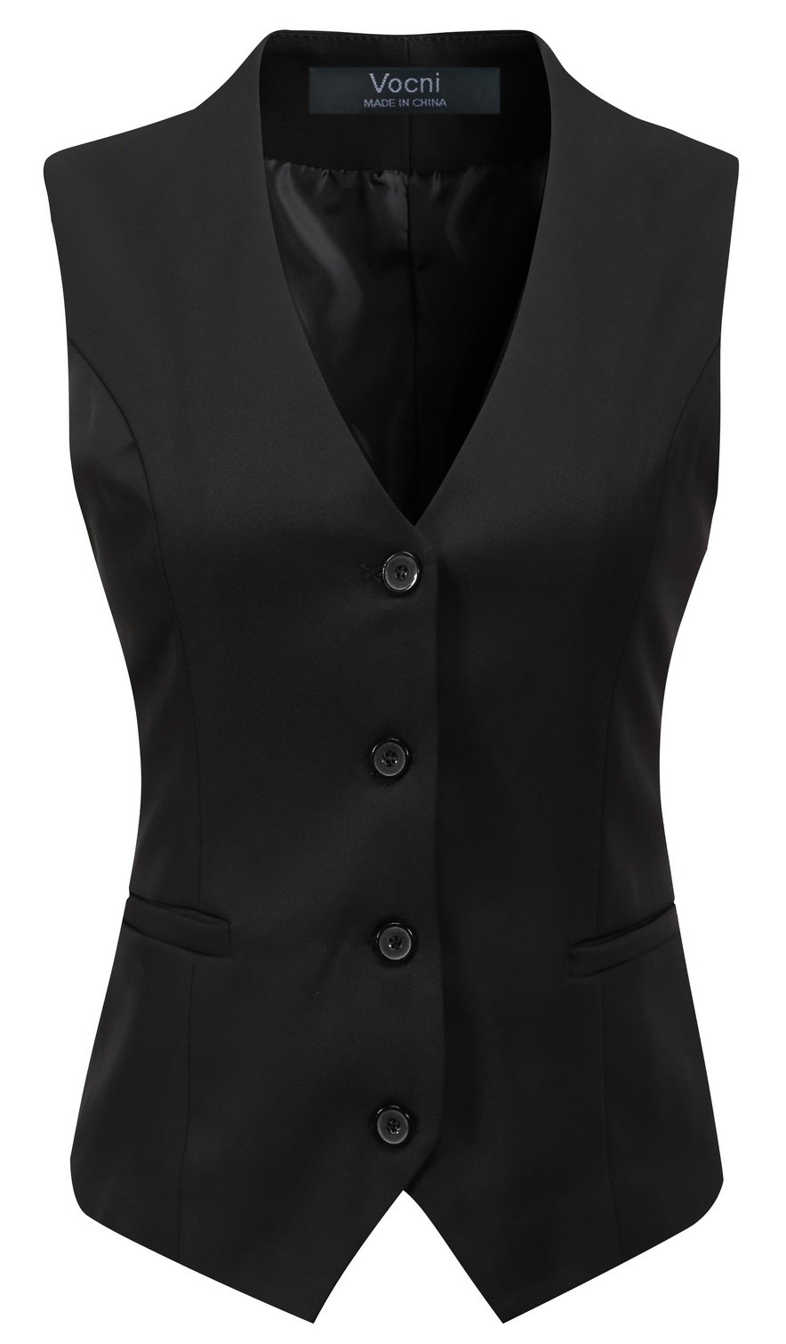 Vocni Women's Fully Lined 4 Button V-Neck Economy Dressy Suit Vest Waistcoat ,Black,US M+ ,(Asian 4XL)
