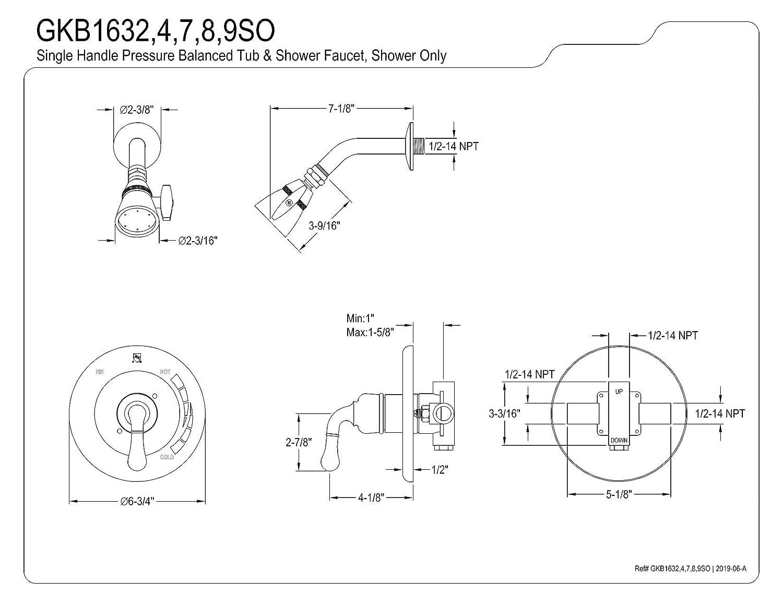 Chrome//Polished Brass 7 Diameter Escutcheon Kingston Brass GKB1634SO Magellan Tub Faucet Shower Only