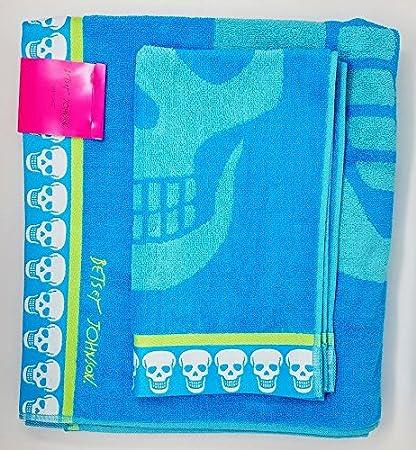 Betsey Johnson Set – toalla de baño y toalla de mano, lavar calavera – Azul
