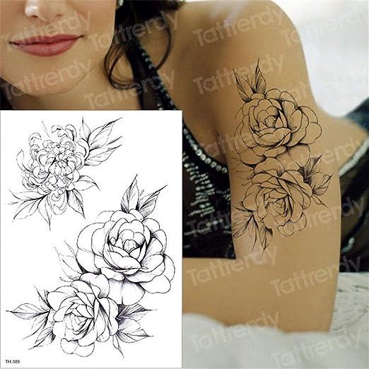 3pcs-negras mangas del tatuaje de flores temporales del tatuaje de ...