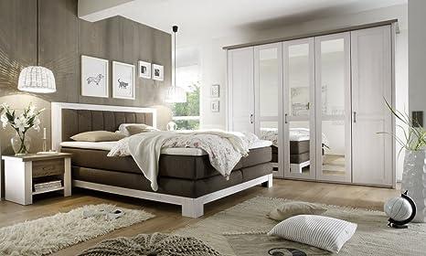 Komplett Schlafzimmer Boxspringbett Nakos Kleiderschrank Luca Pinie Weiss Landhaus By Bega Amazon De Kuche Haushalt