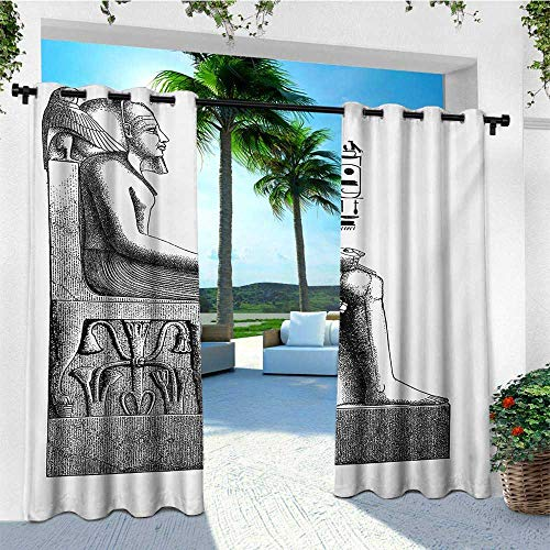 leinuoyi Egyptian, Outdoor Curtain Set of 2 Panels, Ancient Antique Era Egypt Pharaoh King Pose with a Bird Hawk Sketch Image, Outdoor Curtain Set for Patio Waterproof W120 x L96 Inch Black and White
