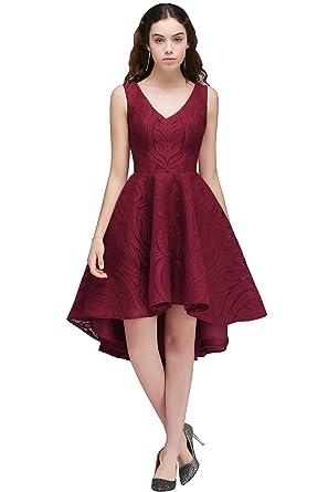 Satin V-Neck Hi-Lo Short Sleeveless Burgundy Party Prom Dresses(Customizable )