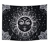 Racunbula Sun and Moon Tapestry Wall Hanging Psychedelic Wall Tapestry Black & White Celestial Tapestry Indian Hippy Bohemian Mandala Tapestry for Bedroom Living Room Dorm