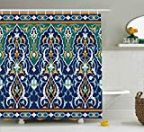 Moroccan Shower Curtain by Ambesonne, Ethnic Oriental Style Figures and Petals Hippie Vintage Tribal Mosaic Design, Fabric Bathroom Decor Set with Hooks, 70 Inches, Blue Mustard