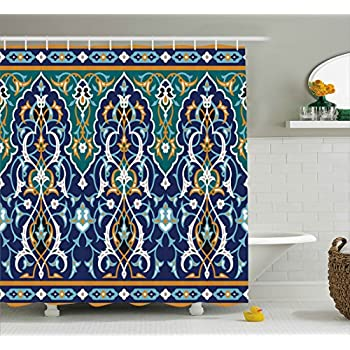 Amazon.com: Ambesonne Moroccan Shower Curtain, Ethnic Oriental Style ...