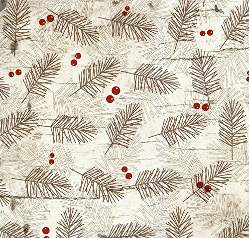 Wide Moose (Henry Glass 'Moose Lodge' Pine Branches and Berries on Ecru Christmas Cotton Fabric 44-45 Inches Wide)