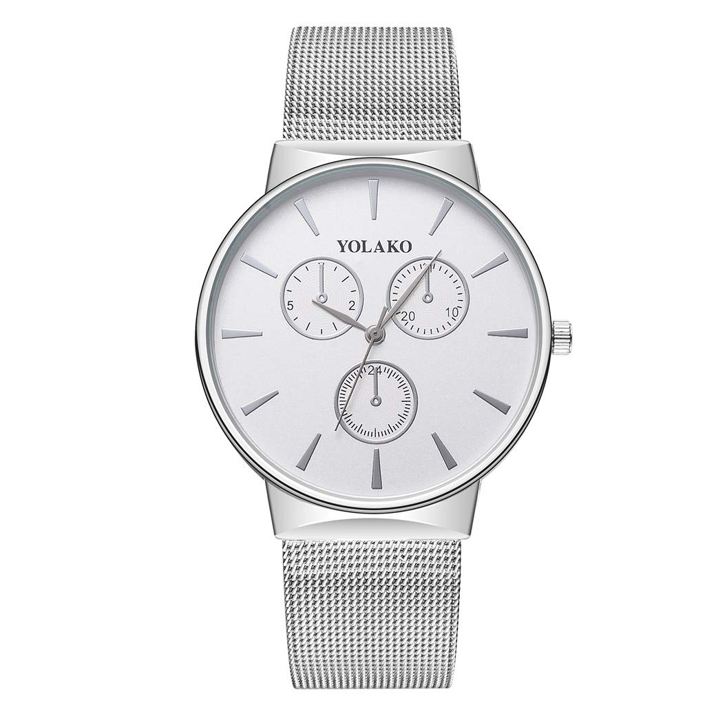 Unisex Milanese Mesh Band Wrist Watches Men Casual Clock with Stainless Steel Strap by Bravetoshop(Silver)