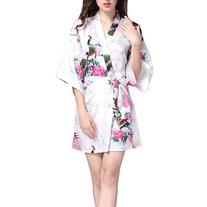 Bata De Raso Vestido De Damas Kimono Bata De Casuales Mujeres Raso Calentamiento Nocturno Sche Bata De Baño Camisas Pijamas con Pavo Real Y Flores: ...