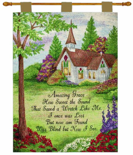 Wall Bath Collection (Manual Inspirational Collection 26 X 36-Inch Wall Hanging and Finial Rod, Amazing Grace Church)