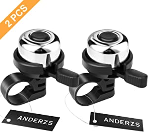 ANDERZS 2pcs Bike Bell Bicycle Bell (Silver), Bike Bells for Adults and Kids, Crisp Loud Melodious Sound, Mountain Bike Bell, Road Bike Bell