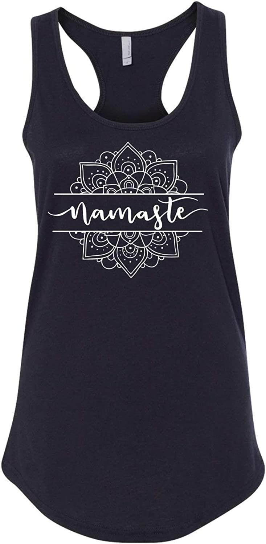 Namaste with Mandala Yoga Meditation Printed Ladies Next Level Racerback Tank Top (Assorted Colors)