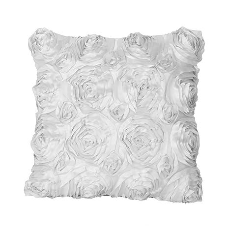 42cm Funda Cubierta de Almohada Cojín Flor Raso Decoración para Sofá Hogar Coche (blanco)