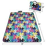 RoryTory Puzzle Design Foldable Outdoor Fleece Waterproof Picnic Blanket Mat