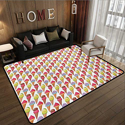 Household Decorative Floor mat,Tasty Summer Desserts Refreshments Soft and Sweet Food Frosting Various Flavors 6'6''x8',Can be Used for Floor Decoration by BarronTextile (Image #1)