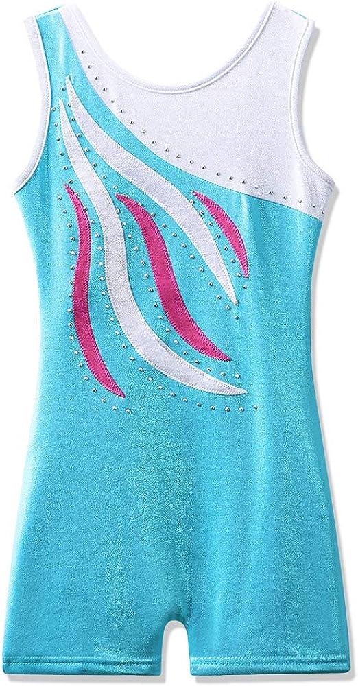 BAOHULU Leotard for Toddler Girls Gymnastics Shorts Sparkle Embroidery Tank Biketards One Piece