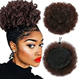Armmu 8Inch Short Afro Kinky Curly Hair Updo Wrap Synthetic Hair Drawstring High Puff Ponytail Hair Extension Afro Bun for Natural Hair With 2 Clips(#4)