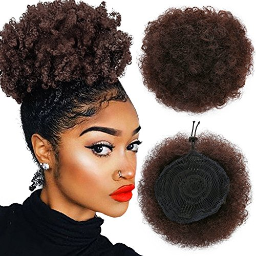 Armmu 8Inch Short Afro Kinky Curly Hair Updo Wrap Synthetic Hair Drawstring High Puff Ponytail Hair Extension Afro Bun for Natural Hair With 2 Clips(#4) by Armmu