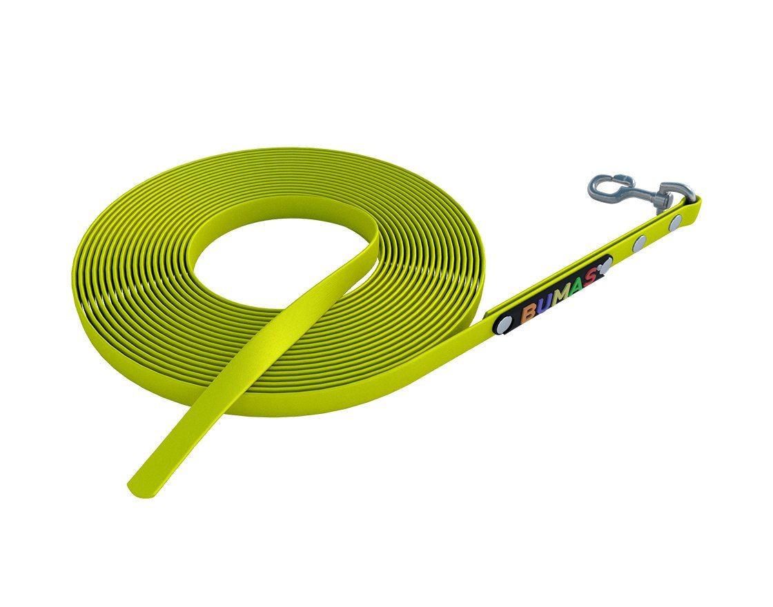 9 mm   10 m BUMAS sport BioThane® towing leashes in neon yellow, 10m   9mm