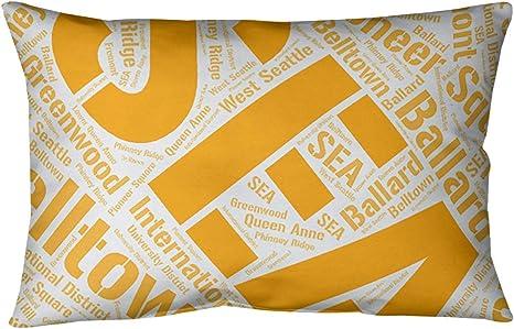 Artverse Rand Cites Seattle Washington Districts Word Art Orange Pillow Spun Polyester Home Kitchen