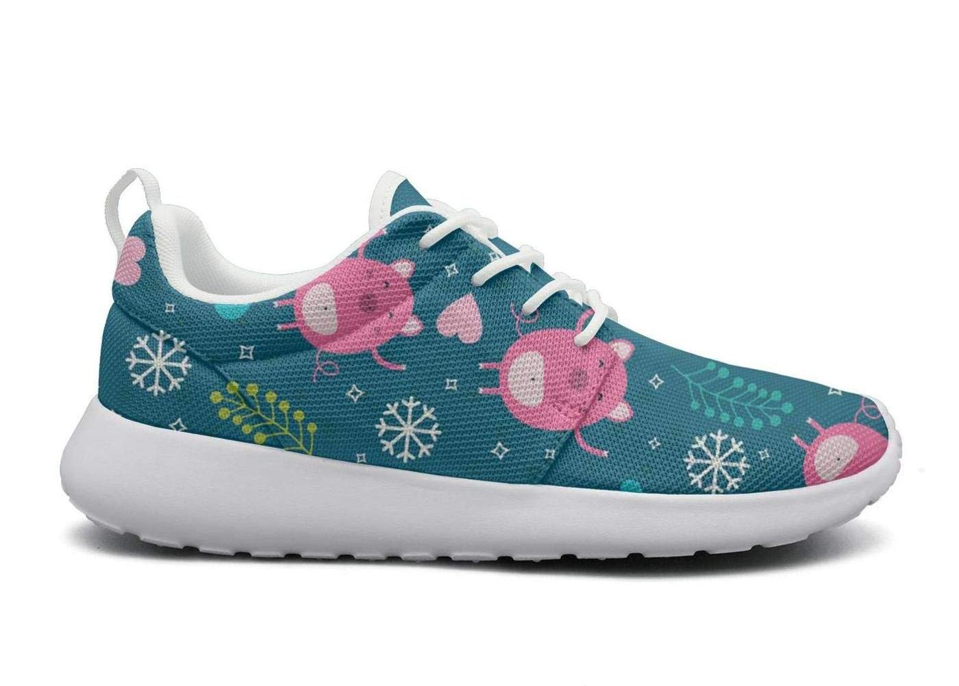 ipdterty Wear-Resistant Sports Sneaker Cute Pig with Blue Snowflake Love Beautiful Women Novelty Track Running Shoes