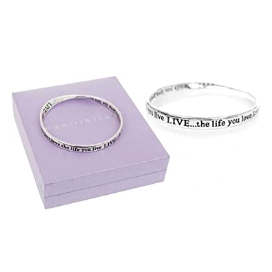 Equilibrium Silver Plated Bangle - Live Well Love Much Laugh Often by Jolie Bijoux CJWUe4Ynb