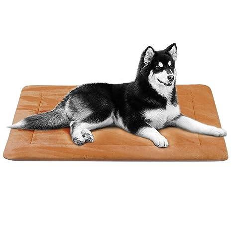 Hero Dog Colchoneta Grande Suave para Perros - 100% Lavable A Máquina, Colchón Antideslizante De Color Intenso (L(107 x 75 CM), Café)